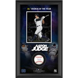 Aaron Judge Signed New York Yankees 15.5x25.25x2 Custom Framed Baseball Display (MLB Hologram  Fanat