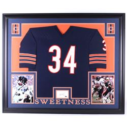 Walter Payton Signed Chicago Bears 35x43 Custom Framed Cut Display with Jersey (Payton COA)