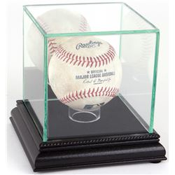 Premium Single Baseball Glass Display Case with Black Suede  Black Wood Base  Mirrored Back