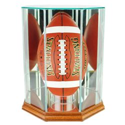 Premium Octagon Upright Football Display Case with Mirrored Back  Walnut Wood Base (New)