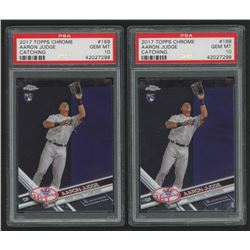 Lot of (2) PSA Graded 10 2017 Topps Chrome #169A Aaron Judge RC