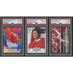 Lot of (3) PSA Graded 10 Shohei Ohtani Baseball Cards with 2018 Diamond Kings Aurora #10, 2018 Leaf