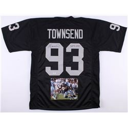 "Lot of (2) Greg Townsend Signed Los Angeles Raiders Items with (1) Jersey Inscribed ""RATS 109.5""  (1"