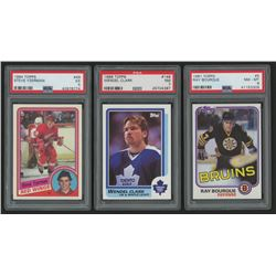 Lot of (3) Hockey Cards with 1984-85 Topps #49 Steve Yzerman RC, 1981-82 Topps #5 Ray Bourque,  1986