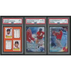 Lot of (3) Baseball Cards with 2018 Topps Throwback Thursday #44 Mookie Betts / Andrew Benintendi, 2
