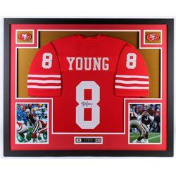 Steve Young Signed San Francisco 49ers 34.5x42.5 Custom Framed Jersey (JSA COA)