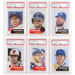 Lot of (6) PSA Graded 2018 Topps Living Baseball Cards with #67 Anthony Rizzo (PSA 9), #61 Francisco