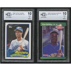 Lot of (2) Beckett BCCG Graded 10 Ken Griffey Jr. Baseball Cards with 1989 Donruss Rookies #3  1989