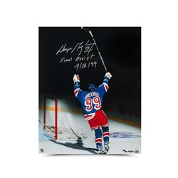 "Wayne Gretzky Signed New York Rangers LE 16x20 Photo Inscribed ""Final Assist 4/18/99"" (UDA COA)"