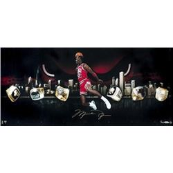 "Michael Jordan Signed Chicago Bulls ""City Of Rings"" 15x30 Limited Edition Photo (UDA COA)"