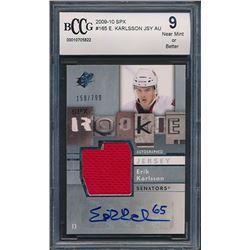 2009-10 SPx #165 Erik Karlsson Jersey Autograph RC #158/799 (BCCG 9)