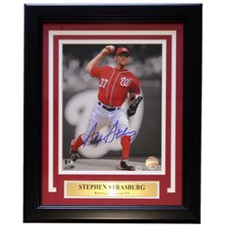 Stephen Strasburg Signed Washington Nationals 11x 14 Custom Framed Photo Display (MLB Hologram)