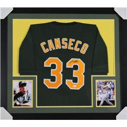 Jose Canseco Signed Oakland Athletics 31x35 Custom Framed Jersey (JSA COA)