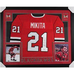 Stan Mikita Signed Chicago Blackhawks 35x43 Custom Framed Jersey (Beckett COA)