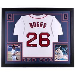 """Wade Boggs Signed Boston Red Sox 35x43 Custom Framed Jersey Inscribed """"HOF 05"""" (JSA COA)"""