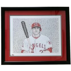 Mike Trout Angels Word Art 22x27 Custom Framed Print Display