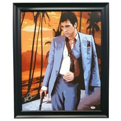 "Al Pacino Signed ""Scarface"" 22x 25 Custom Framed Canvas Display (PSA COA)"