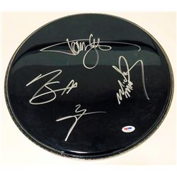 """Motley Crue"" Drumhead Signed by (4) with Tommy Lee, Vince Neil, Mick Mars  Nikki Sixx (PSA LOA)"