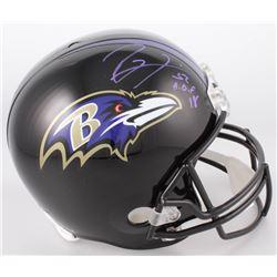 "Ray Lewis Signed Baltimore Ravens Full-Size Helmet Inscribed ""H.O.F 18""  (Radtke COA  Lewis Hologram"