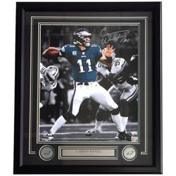 Carson Wentz Signed Eagles 22x27 Custom Framed Photo Display (Fanatics)