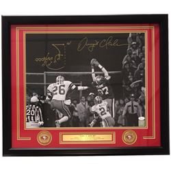 Dwight Clark Signed San Francisco 49ers 22x27 Custom Framed Photo Display with Hand-Drawn Play (JSA