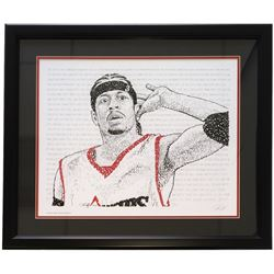 """Allen Iverson"" Philadelphia 76ers Word Art 22x27 Custom Framed Print Display"