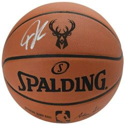 Giannis Antetokounmpo Signed Official Milwaukee Bucks Logo NBA Game Ball (Fanatics Hologram)