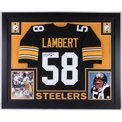"Jack Lambert Signed Pittsburgh Steelers 35x43 Custom Framed Jersey Inscribed ""HOF 90"" (JSA COA)"