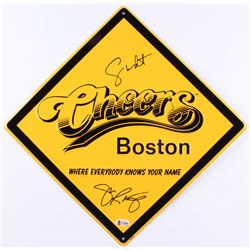 "George Wendt  John Ratzenberger Signed ""Cheers"" 12x12 Street Sign (Beckett COA)"