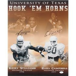 Earl Campbell  Ricky Williams Signed Texas Longhorns Hook 'Em Horns 16x20 Photo (JSA COA)