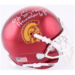 "OJ Simpson Signed USC Trojans Chrome Mini-Helmet Inscribed ""Heisman 68'"" (JSA COA)"