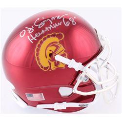 OJ Simpson Signed USC Trojans Chrome Mini-Helmet Inscribed  Heisman 68'  (JSA COA)