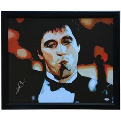 Al Pacino Signed  Scarface  22x25 Custom Framed Canvas Display (PSA COA)