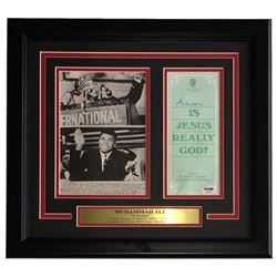 Muhammad Ali Signed 16x18 Custom Framed Pamphlet Display with an Original Wire Photo (PSA LOA)