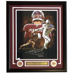 "Johnny Manziel Signed Texas AM Aggies 22x27 Custom Framed Photo Display Inscribed ""Johnny Football"""