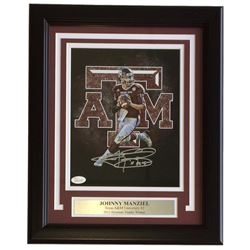 "Johnny Manziel Signed Texas AM Aggies 11x14 Custom Framed Photo Display Inscribed ""'12 Heisman"" (JSA"