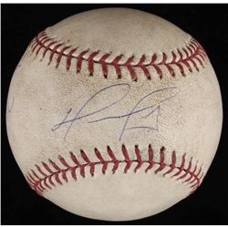 "David Ortiz Signed Game-Used OML Baseball Inscribed ""3 Hit 1 Run"" (Steiner LOA  MLB Hologram)"