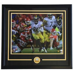 Le'Veon Bell Signed Pittsburgh Steelers 22x29 Custom Framed Photo Display (JSA COA)