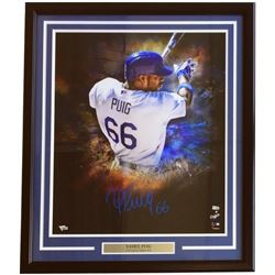 Yasiel Puig Signed Los Angeles Dodgers 20x24 Custom Framed Photo Display (Fanatics Hologram)