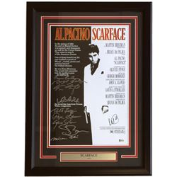 """Scarface"" 18x26 Custom Framed Photo Display Signed by (10) withl Pacino, Robert Loggia, Steven Baue"