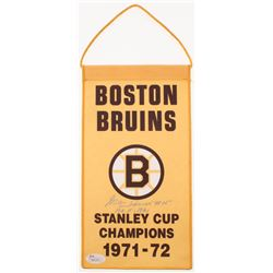 "Milt Schmidt Signed Boston Bruins 1971-72 Stanley Cup Champions Logo Mini Flag Inscribed ""H.O.F 1961"