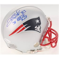 "Deion Branch Signed New England Patriots Mini Helmet Inscribed ""SB XXXIX MVP"" (JSA COA)"