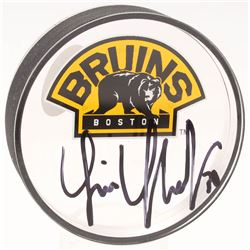 Tim Thomas Signed Boston Bruins Acrylic Logo Hockey Puck (JSA COA  YSMS Hologram)