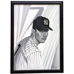 Mickey Mantle 23x32 Custom Framed Original Acrylic Painting Display