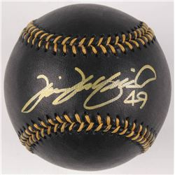 Tim Wakefield Signed OML Black Leather Baseball (MLB Hologram)
