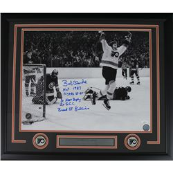 Bob Clarke Signed Philadelphia Flyers 22x27 Custom Framed Photo Display with (5) Career Highlight St