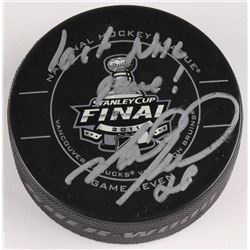 "Mark Recchi Signed 2011 Stanley Cup Finals Logo Hockey Puck Inscribed ""Last NHL Game!"" (JSA COA)"