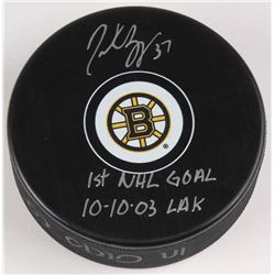 "Patrice Bergeron Signed Boston Bruins Logo Hockey Puck Inscribed ""1st NHL Goal 10-10-03""  ""LAK"" (Ber"