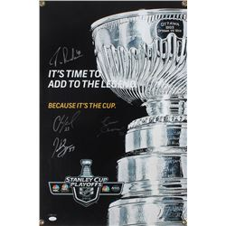 Boston Bruins Stanley Cup 20x30 Hanging Store Display Sign Signed by (4) Zdeno Chara, Patrice Berger