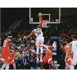 "Giannis Antetokounmpo Signed Milwaukee Bucks ""Vs. Raptors"" 16x20 Photo (Fanatics Hologram)"